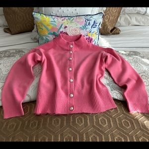 Pink Sweater With Jewel Buttons Size L NWOT